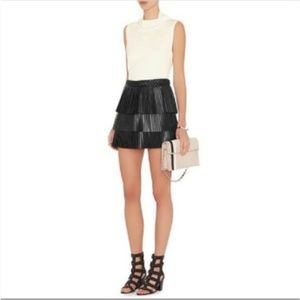 Intermix 100% Leather pleated skirt